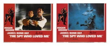 The Spy Who Loved Me (1977) two lobby cards, US, both signed by Roger Moore