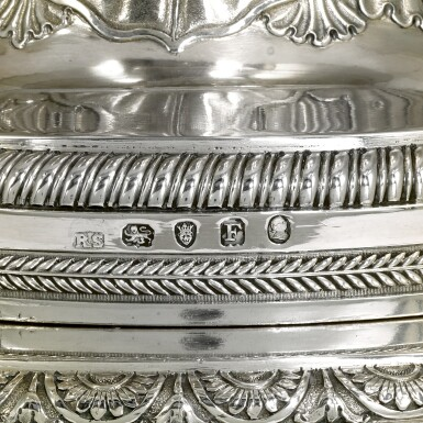 View 4. Thumbnail of Lot 80. A George III silver soup tureen and stand, Robert Sharp, London, 1801.