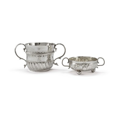 A CHARLES II SILVER DRAM CUP AND WILLIAM & MARY SILVER TWO-HANDLED CUP, GEORGE GIBSON, YORK AND JOHN GIBBONS, LONDON, 1677 AND 1701