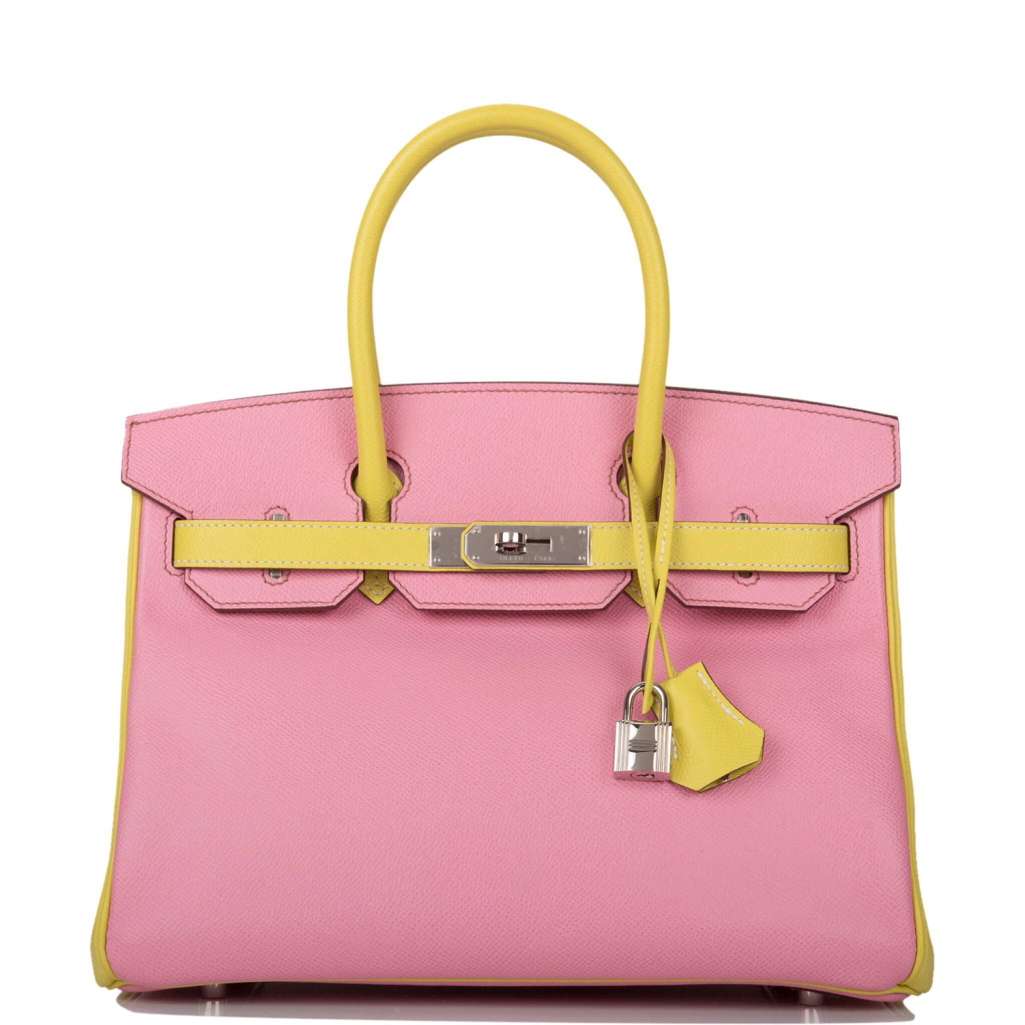 View full screen - View 1 of Lot 34. HERMÈS | HORSESHOE STAMP (HSS) BICOLOR BUBBLEGUM AND LIME BIRKIN 30CM OF EPSOM LEATHER WITH PALLADIUM HARDWARE.