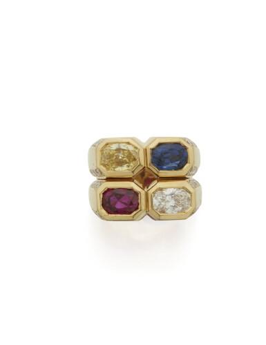 RUBY, SAPPHIRE, COLORED DIAMOND AND DIAMOND RING, BULGARI