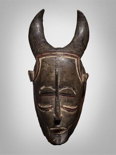 View 1. Thumbnail of Lot 44. Ligbi Horned Mask, Côte d'Ivoire.