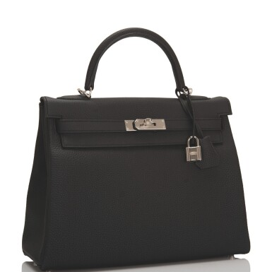 Hermès Black Retourne Kelly 32cm of Togo Leather with Palladium Hardware