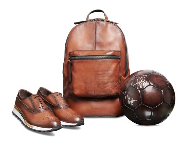 Berluti | Football, Backpack Volume Pm and Fast Track Shoes (Ballon de Football, Sac à Dos Volume Pm et Fast Track Chaussure ) [3 Items / Articles]