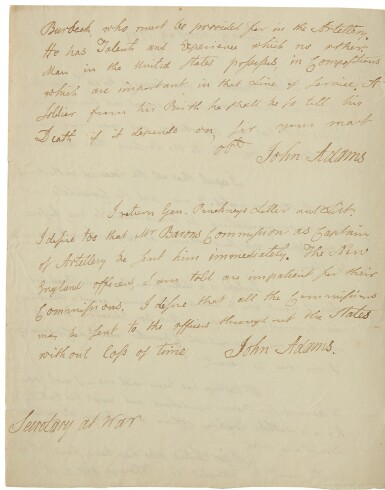 Adams, John. Autograph letter signed, to James McHenry, 29 March 1799