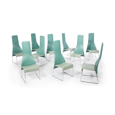"""View 3. Thumbnail of Lot 291. Set of Ten """"Lazy"""" High Back Dining Chairs."""