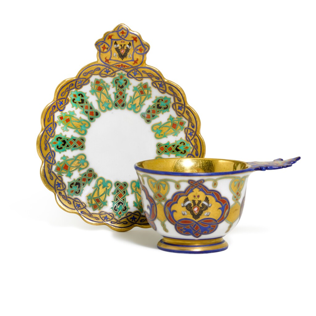 A PORCELAIN CHARKA AND SAUCER FROM THE SERVICE OF GRAND DUKE KONSTANTIN NIKOLAEVICH, IMPERIAL PORCELAIN FACTORY, ST PETERSBURG, PERIOD OF NICHOLAS I (1844-1855), 1848-1852