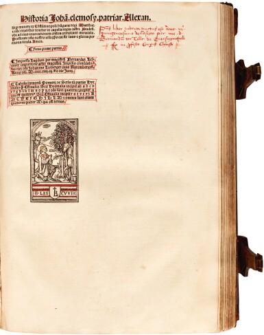 View 2. Thumbnail of Lot 236. Pelbartus de Themeswar, Sermones pomerii de sanctis, Lyon, 1514, contemporary stamped calf.