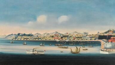 View 4. Thumbnail of Lot 203. A SET OF FOUR CHINA TRADE PAINTINGS QING DYNASTY, CA. 1880   清 約1880年 《香港》、《澳門》、《廣州》及《廈門》外銷油畫一組四幅.