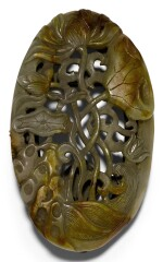 A CELADON AND RUSSET JADE RETICULAED PLAQUE YUAN/MING DYNASTY | 元/明 青玉鏤雕荷塘紋牌飾