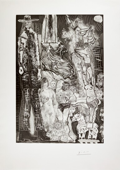PABLO PICASSO | SOUVENIRS: CIRQUE, AVEC EL GIGANTEET AUTOPORTRAIT EN BÉBÉ-VIEILLARD (B. 1622; BA. 1638)