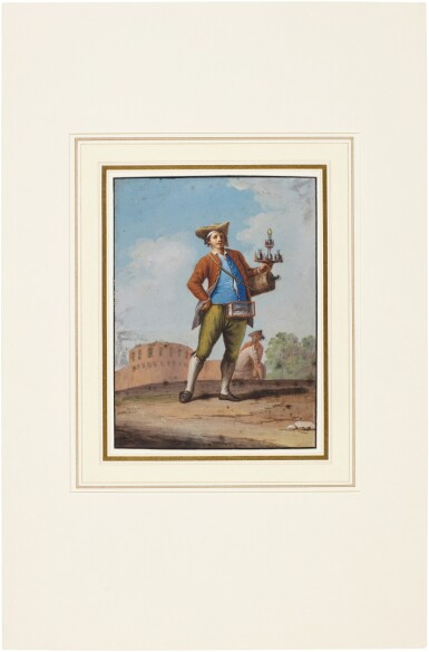 View 4. Thumbnail of Lot 83. A pair of Neapolitan genre scenes: A woman carrying baskets of eggs and a Waterseller.