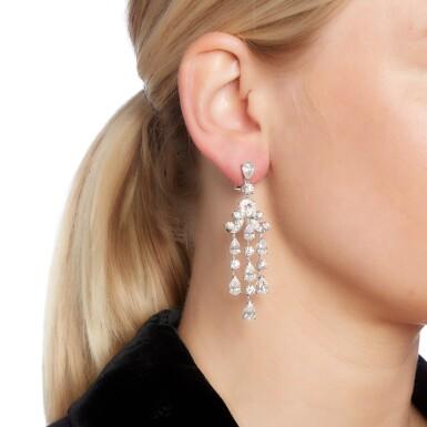 View 4. Thumbnail of Lot 94. Graff   Pair of diamond earrings.