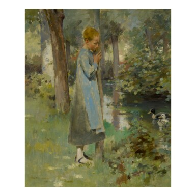 THEODORE ROBINSON   BY THE RIVER