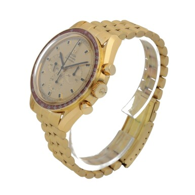 View 2. Thumbnail of Lot 371. SPEEDMASTER APOLLO XI, REF 145.022-69 YELLOW GOLD CHRONOGRAPH WRISTWATCH WITH BRACELET MADE IN 1970.