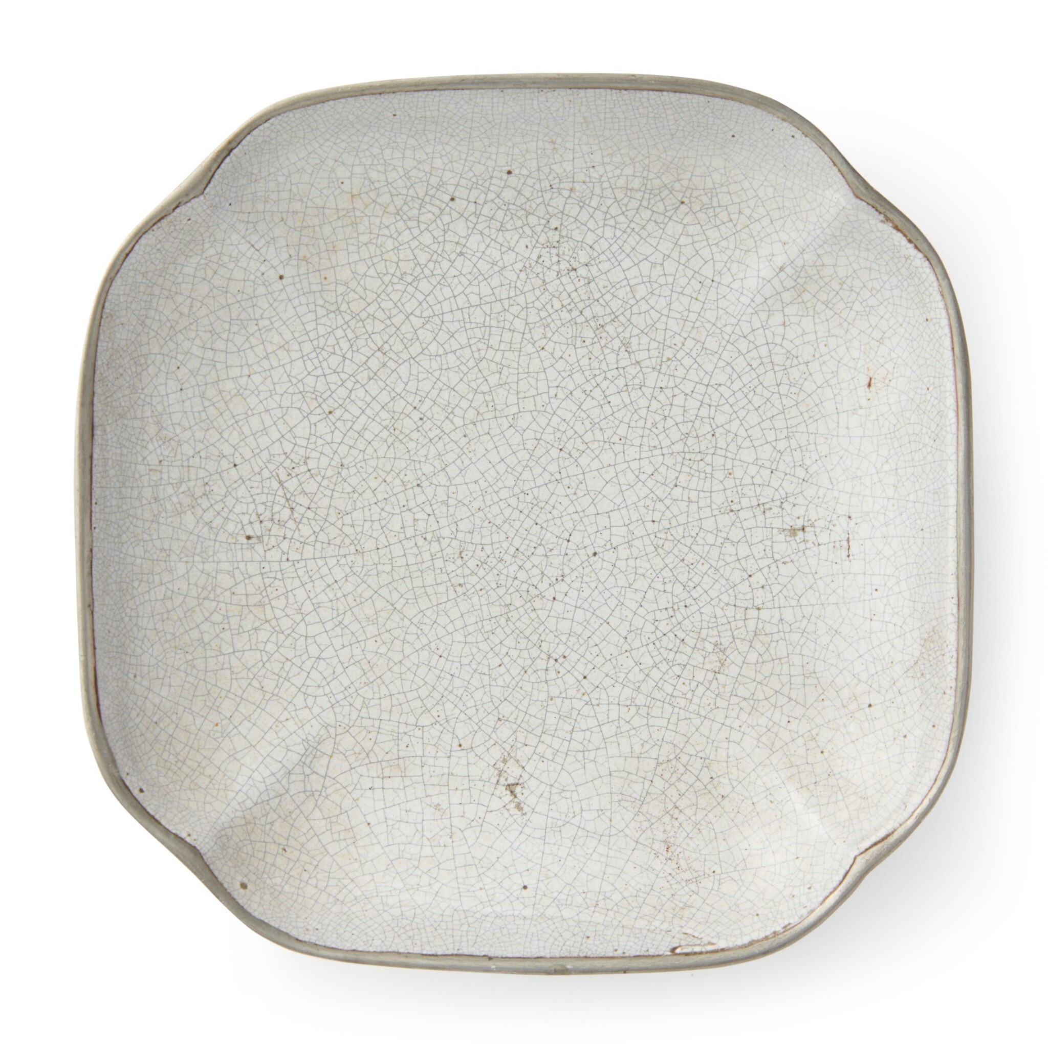 View full screen - View 1 of Lot 41. A quadrilobed inscribed pewter and ge-type-glazed dish, 19th / 20th century.