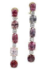 PAIR OF SPINEL AND DIAMOND PENDENT EARRINGS | 尖晶石 配 鑽石 吊耳環一對