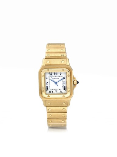 CARTIER | SANTOS  A YELLOW GOLD SQUARE FORM WRISTWATCH WITH DATE AND BRACELET CIRCA 1999