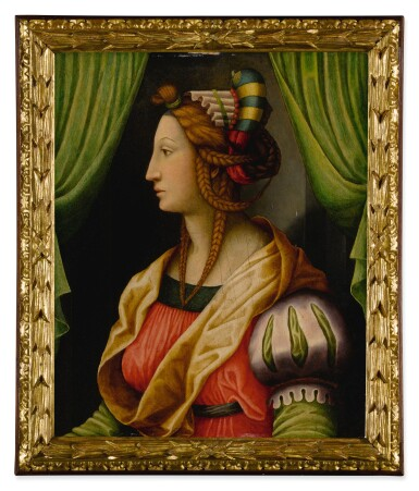 """View 2. Thumbnail of Lot 501. Profile of a Woman: a """"Testa Ideale""""."""