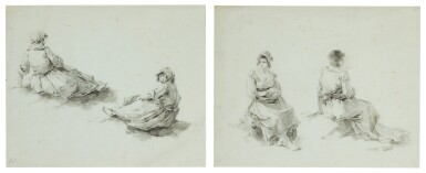 JEAN-BAPTISTE PILLEMENT | Two sheets of studies of seated female figures