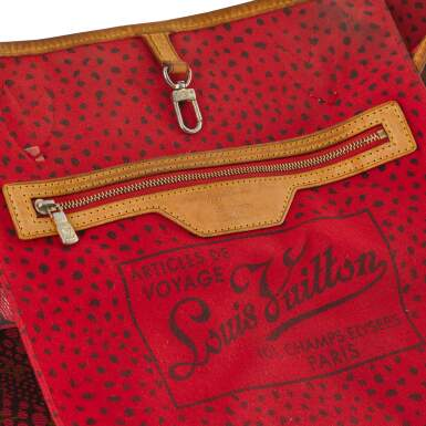 View 5. Thumbnail of Lot 6. Red Monogram Dots Infinity Neverfull MM Tote in Vachetta Leather with Goldtone Hardware, 2012.