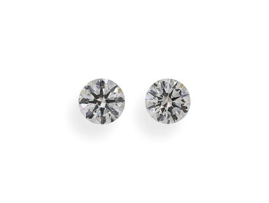 A Pair of 0.56 and 0.54 Carat Round Diamonds, H and I Color, VVS2 Clarity