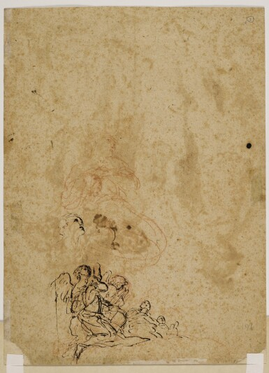 View 2. Thumbnail of Lot 223. Recto: Roman Soldiers Verso: Kneeling angels and a head, and a kneeling figure.
