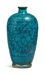 A TURQUOISE-GLAZED 'CIZHOU' 'FLORAL' MEIPING, YUAN / MING DYNASTY
