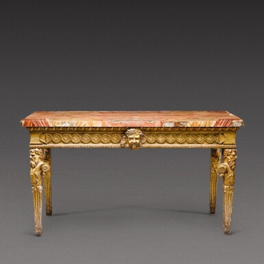 View 1. Thumbnail of Lot 174. An Italian Neoclassical carved giltwood console table, Rome, circa 1780.