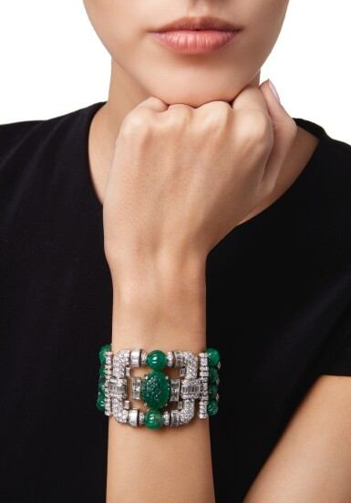 View 2. Thumbnail of Lot 461.  EMERALD AND DIAMOND BRACELET   祖母綠配鑽石手鏈.