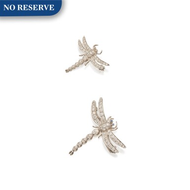 View 1. Thumbnail of Lot 346. Tiffany & Co. | Pair of Diamond 'Dragonfly' Brooches.