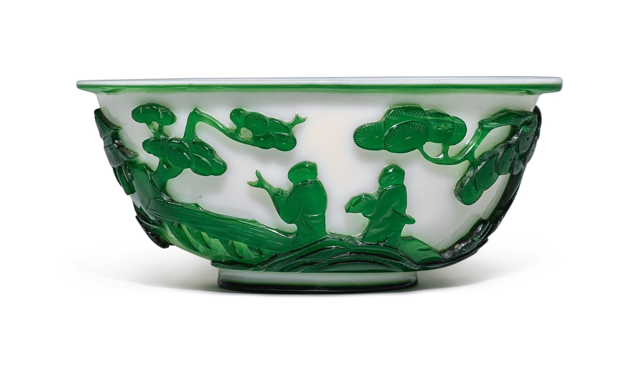 View full screen - View 1 of Lot 1020. A GREEN OVERLAY WHITE GLASS 'FIGURAL' BOWL, QING DYNASTY, 19TH CENTURY.
