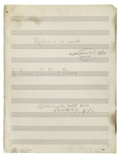 """View 3. Thumbnail of Lot 139. [DYLAN, BOB] 