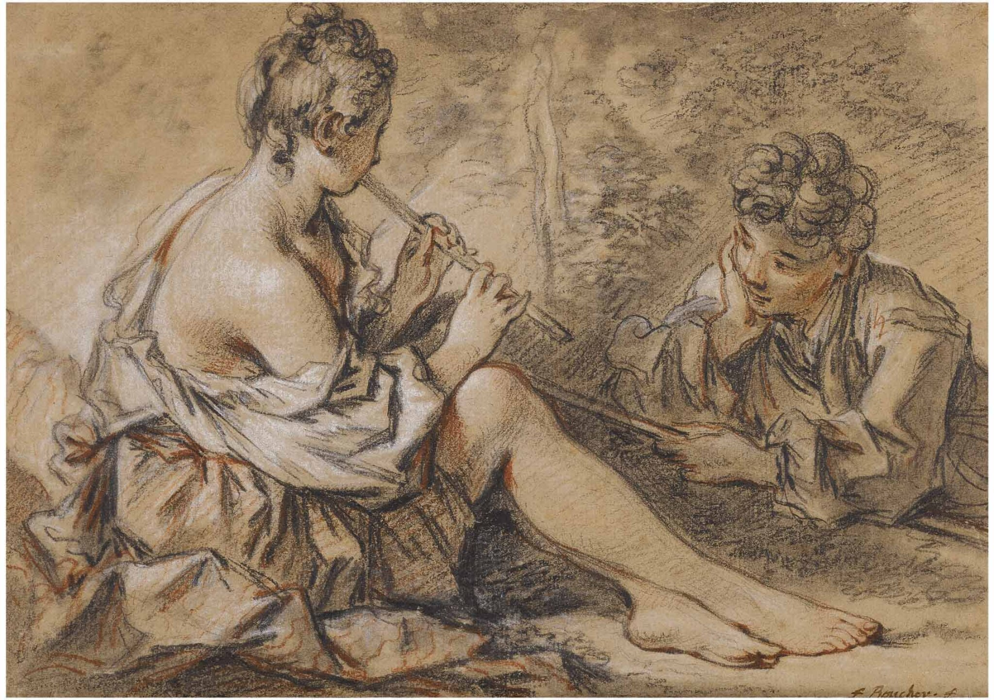 View full screen - View 1 of Lot 21. FRANÇOIS BOUCHER | RECTO: YOUNG MAN MESMERIZED BY A NYMPH PLAYING THE FLUTE,  VERSO: FRAGMENT OF A MALE ACADEMY NUDE.