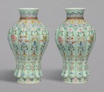 A RARE PAIR OF FINELY DECORATED CELADON-GROUND FAMILLE-ROSE 'BAJIXIANG' LOBED VASES, QIANLONG SEAL MARKS AND PERIOD | 清乾隆 粉青地粉彩八吉祥紋瓜棱式瓶一對 《大清乾隆年製》款