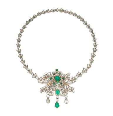 View 2. Thumbnail of Lot 6. Emerald and diamond pendant-necklace (Collana con pendente in smeraldi e diamanti), 1890.