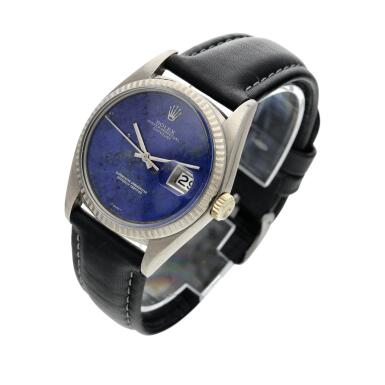 View 2. Thumbnail of Lot 18. Reference 1601 Datejust  A white gold automatic wristwatch with date and lapis lazuli dial, Circa 1977 .