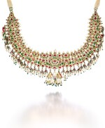 A DIAMOND-SET AND ENAMELLED NECKLACE WITH SEED-PEARL AND GEM-SET FRINGE, NORTH INDIA, 19TH CENTURY