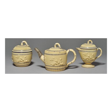 A WEDGWOOD CANEWARE PART-BAMBOO-MOLDED PART TEA SERVICE CIRCA 1780-1800