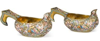 View 2. Thumbnail of Lot 238. A pair of silver-gilt and shaded enamel miniature kovshi, Maria Semenova, Moscow, 1908-1917.