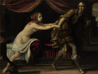 View 1. Thumbnail of Lot 76. Sold Without Reserve | ATTRIBUTED TO SIMONE PIGNONI | JOSEPH AND POTIPHAR'S WIFE.