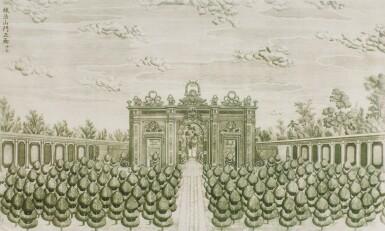 View 29. Thumbnail of Lot 362. A SET OF TWENTY PRINTS OF PALACES, PAVILIONS AND GARDENS AT YUANMING YUAN | 巴黎、1977年 《郎世寧圓明園西洋樓》 一組二十幅 水墨紙本.