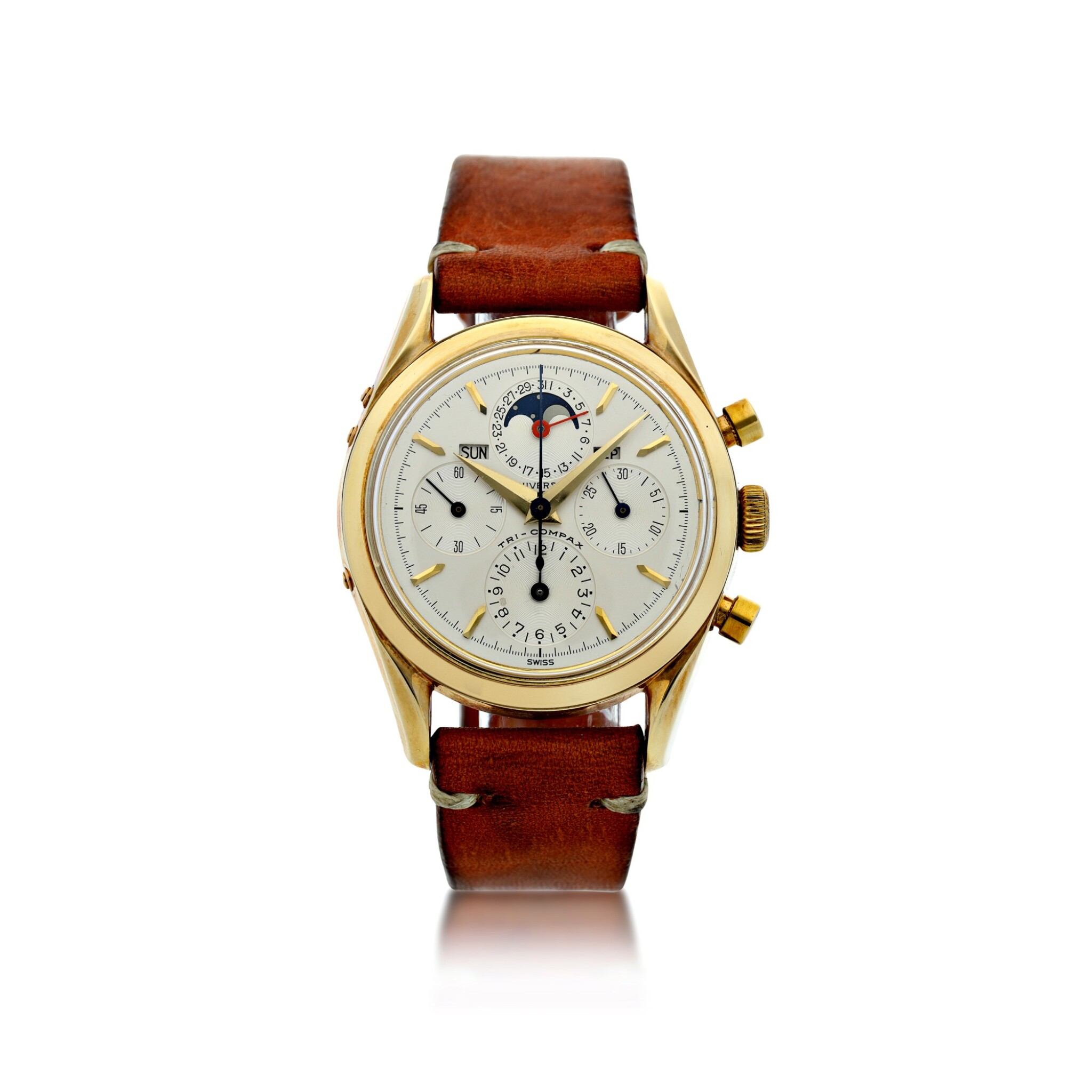 View full screen - View 1 of Lot 14. REFERENCE 330.194 TRI COMPAX A YELLOW GOLD TRIPLE CALENDAR CHRONOGRAPH WRISTWATCH WITH MOON PHASES, CIRCA 1955.