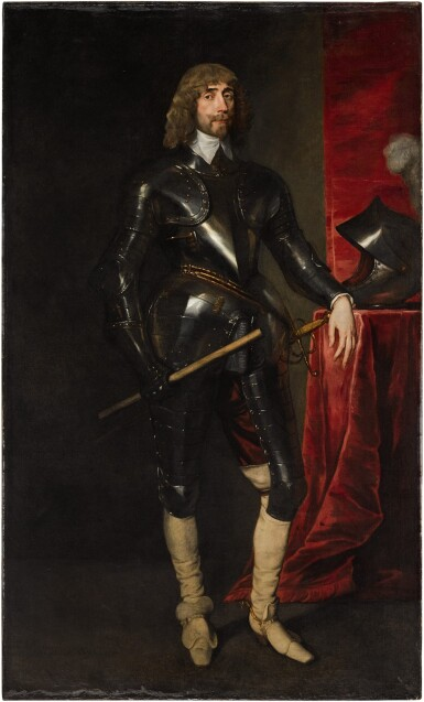View 1. Thumbnail of Lot 26. Portrait of George Hay, 2nd Earl of Kinnoull (circa 1595–1644), full-length, wearing armour, and holding a baton in his right hand, his left resting on a table with a red cloth, upon which is his helmet | 《喬治・黑伊,金諾伯爵二世(約1595-1644年)身披鎧甲、右手持棍、左手搭在桌邊的全身肖像,桌上鋪紅色桌布並擺放頭盔》.