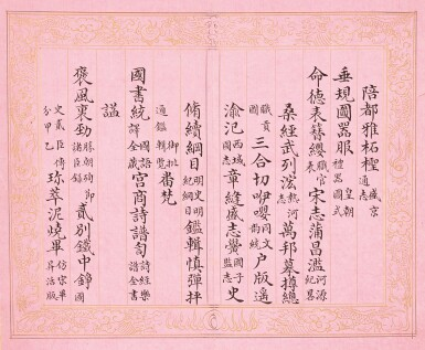 View 15. Thumbnail of Lot 3114. Peng Yuanrui 1731 - 1803 彭元瑞 1731-1803 | Poems for the Emperor Qianlong's Eightieth Birthday Celebration 《萬壽大慶八庚全韻詩》冊.