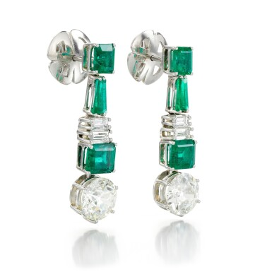 View 2. Thumbnail of Lot 91. PAIR OF DIAMOND AND EMERALD EARRINGS.
