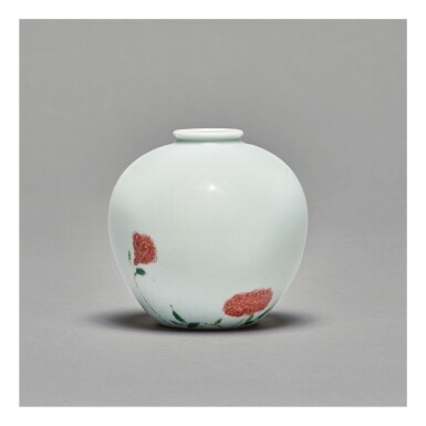 View 1. Thumbnail of Lot 114. A RARE AND EXCEPTIONAL UNDERGLAZE-RED AND FAMILLE-VERTE 'ROSE' VASE,  KANGXI MARK AND PERIOD.