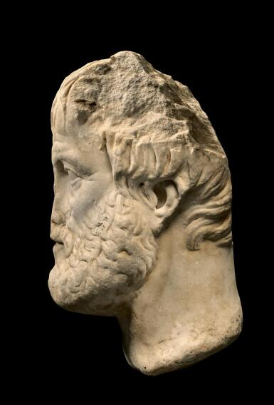 View 2. Thumbnail of Lot 247. A ROMAN MARBLE PORTRAIT HEAD OF ARISTOTLE, CIRCA 1ST CENTURY A.D..