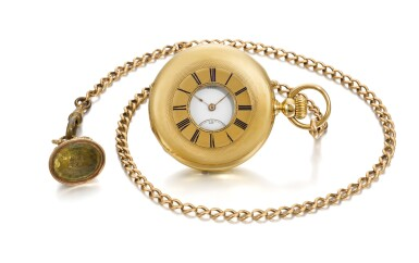 View 1. Thumbnail of Lot 201. YELLOW GOLD HALF HUNTING CASED KEYLESS WATCH NO. 4969, MADE IN 1866.