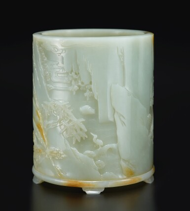 View 4. Thumbnail of Lot 14. An exceptional white and russet jade brushpot, Qing dynasty, Qianlong period   清乾隆 白玉雕進寶圖筆筒.